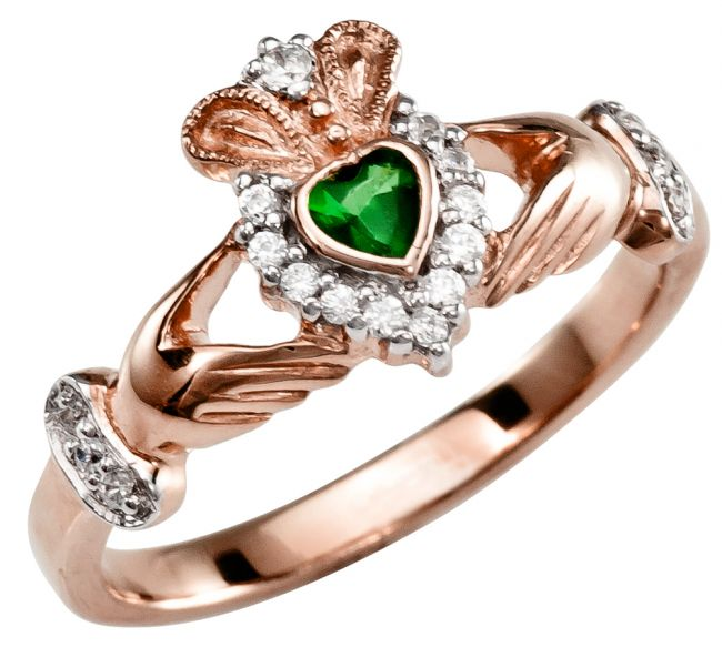 Ladies 10K/14K/18K Rose Gold Diamond Claddagh Ring