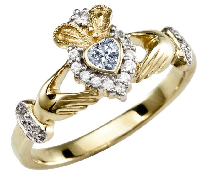 Ladies 10K/14K/18K Yellow Gold Diamond Claddagh Ring