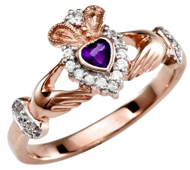 Ladies 10K/14K/18K Rose Gold Amethyst Diamond Claddagh Ring