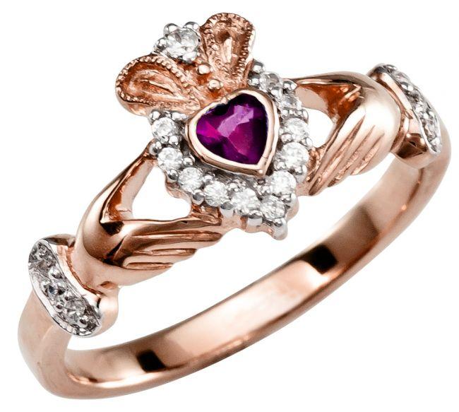 Ladies 10K/14K/18K Rose Gold Pink Tourmaline Diamond Claddagh Ring
