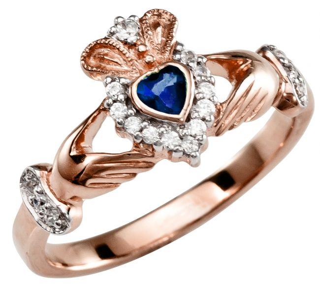 Ladies 10K/14K/18K Rose Gold Sapphire Diamond Claddagh Ring