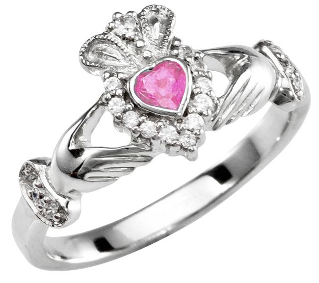 October Birthstone Silver Claddagh Ring