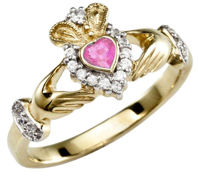 Pink Tourmaline 10K/14K/18K Yellow Gold Claddagh Ring