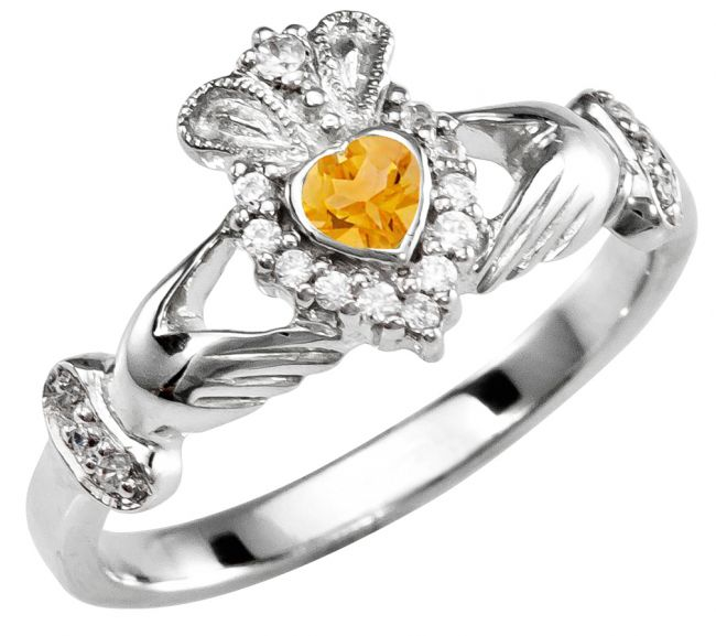 November Birthstone 10K/14K/18K Solid White Gold Claddagh Ring