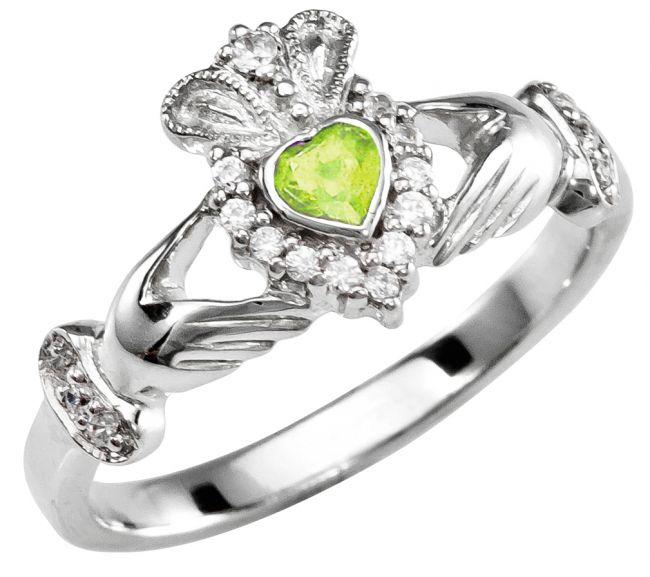 August Birthstone Silver Claddagh Ring