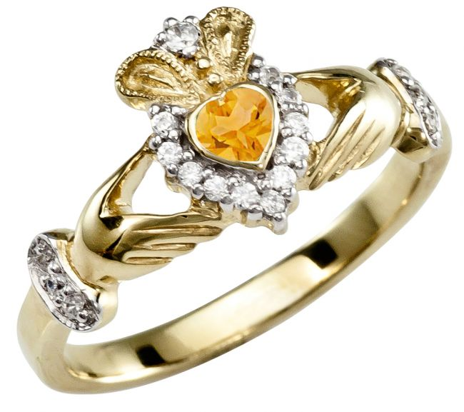 November Birthstone 10K/14K/18K Yellow Gold Claddagh Ring
