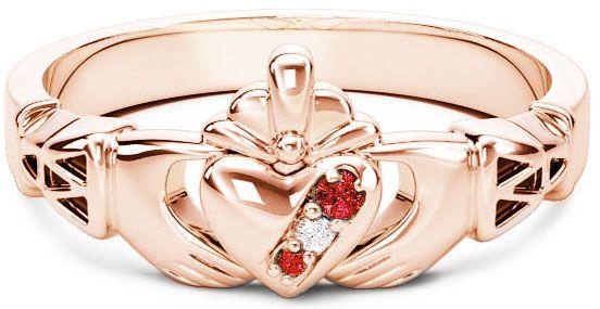 10K/14K/18K Rose Gold Genuine Ruby .035cts Genuine Diamond .1cts Claddagh Celtic Knot Ring - July Birthstone