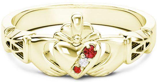 10K/14K/18K Gold Genuine Ruby .035cts Genuine Diamond .1cts Claddagh Celtic Knot Ring - July Birthstone