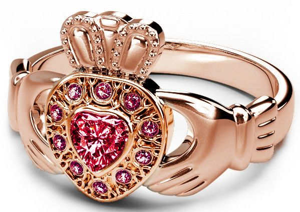 10K/14K/18K Rose Gold Genuine Ruby .38cts Claddagh Ring