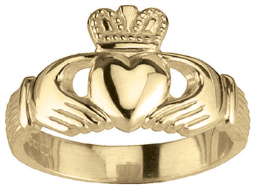 Irish 14K Gold Sterling Silver Claddagh Ladies Ring
