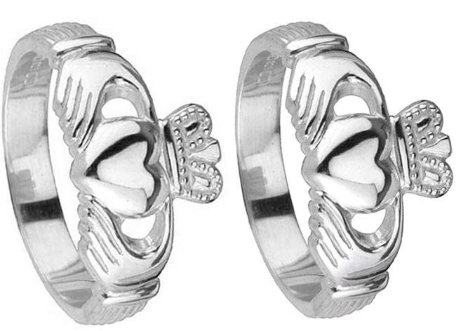 14K White Gold Silver Claddagh Wedding Ring Set
