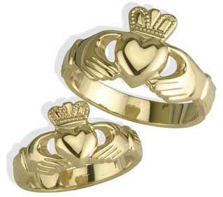 14K Gold Silver Claddagh Wedding Ring Set
