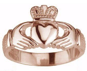 Mens 14K Rose Gold Silver Claddagh Ring