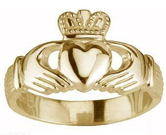 Mens 14K Yellow Gold Silver Claddagh Ring