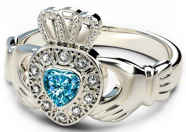 10K/14K/18K White Gold Genuine Diamond .13cts Topaz .25cts Claddagh Engagement Ring - December Birthstone