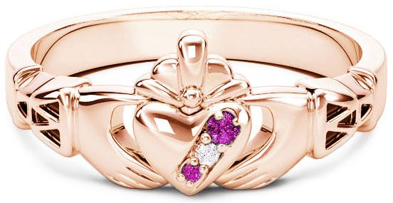 Rose Gold Natural Pink Sapphire .035cts Natural Diamond .01cts Claddagh Celtic Knot Ring - October Birthstone