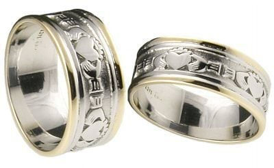 10K/14K/18K Two Tone Gold Claddagh Wedding Rings Set