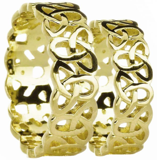 14K Yellow Gold Silver Celtic Knot Band Ring Set