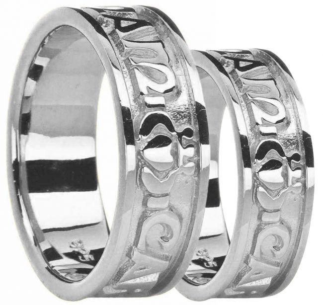 Silver Mo Anam Cara Claddagh Ring Set