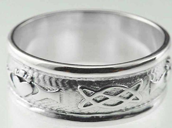 Ladies 10K/14K/18K White Gold Celtic Knot Claddagh Wedding Ring