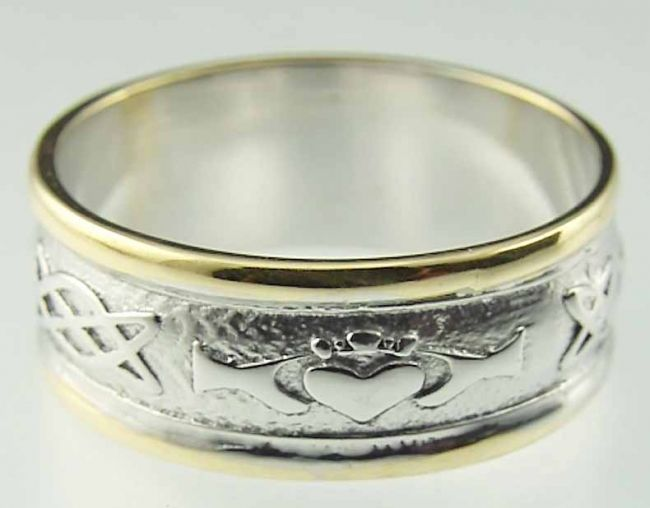 Ladies 10K/14K/18K Two Tone Gold Celtic Knot Claddagh Wedding Ring