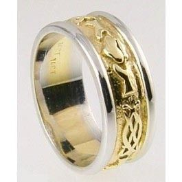 Mens 10K/14K/18K Two Tone Gold Celtic  Claddagh Wedding Band Ring