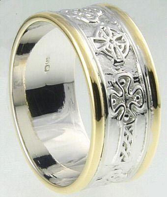 Mens10K/14K/18K Two Tone Gold Celtic Cross Wedding Ring